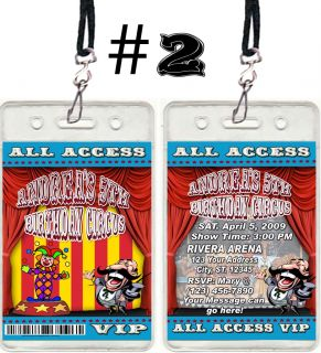 Carnival Circus VIP Birthday Party Invitations Favors