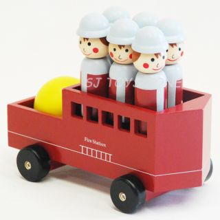 New Kids Children Wooden Fire Truck Bowling Play Set Activity Toy Great Gift