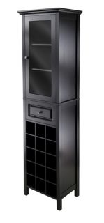New 15 Bottle Burgundy Wine Cabinet w Glass Door Drawer Black Finish