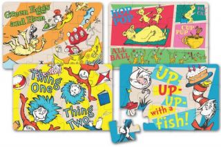 Dr Seuss 4 in 1 Wooden Puzzle Toy Kids Shildren Game Gift New Fast Shipping