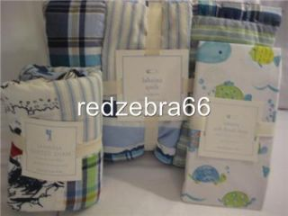 Pottery Barn Kids Boy's Blue Lahaina Toddler Crib Quilt Fitted Sheet Sham Set 3P