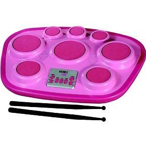 Singing Machine Electronic Drum Stick Pad Kids Play Learn Music Girls Toy Pink