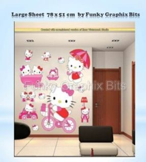 Hello Kitty Large Children Wall Stickers Kid's Wall Decor Nursery Wall Decals