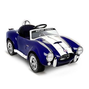 Kids Battery Powered Ride on Toy Blue Shelby Cobra Sports Car 6V Electric