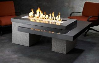 Outdoor Greatroom Uptown Chat Height Black Gas Fire Pit Table with 42x12 inch BU