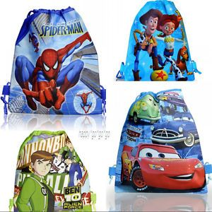 4pcs Spider Man Cars Ben 10 Toy Story Kids Drawstring Backpack School Bags