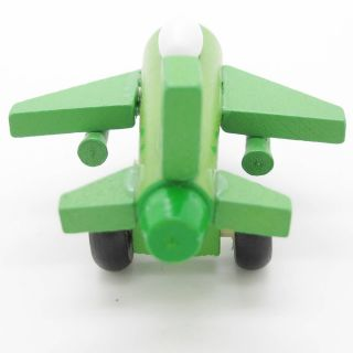 New Green White Hand Made Wooden Wood Mini Airplane Fighter Baby Kids Toys