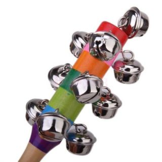 10x Wooden Jingle Hand Bells Kids Toddler Baby Music Educational Toy