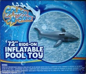 "Splash N Swim Kids Inflatable Shark Pool Float 72"" Ride on Water Toy Kids 4 New"