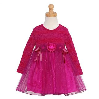 Bonnie Jean Baby Girls 18M Fuchsia Ballerina Sparkle Christmas Dress