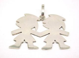 Sterling Silver Two Kids Holding Hands Pendant 1 94""