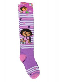 Knee High Dora The Explorer Kids Girls Purple Striped Socks Size 6 8 New