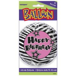 "Zebra Passion ""Happy Birthday"" Party Supplies Foil Mylar Balloon New NIP"