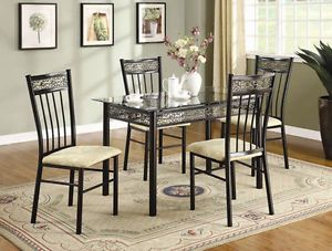 Modern Metal Kitchen Family Dining Room Glass Top Table and Chairs 5pc Brown Set