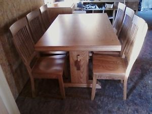 Oak Mission Style Table and Six Chairs New Amish Made