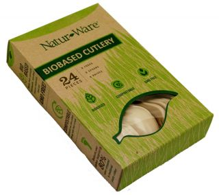 Natur Ware R1890 08 Compostable Cutlery Combo Sets 1 Box of 8 3 Piece Sets