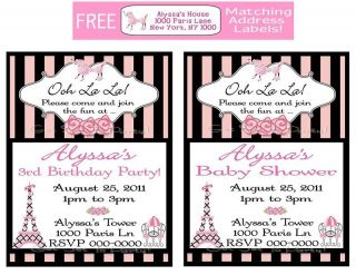 12 Pink Poodle Paris Birthday Party Baby Shower Kids Girls Pink Invitations
