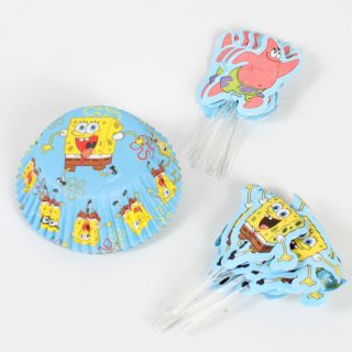 Wilton Spongebob Squarepants Combo Pack Cupcake Cases Cake Toppers Picks