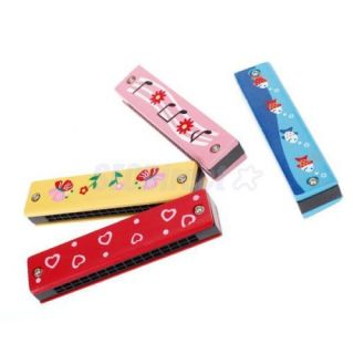 3X Kids Educational Toy Model Wooden Plastic Harmonica Portable