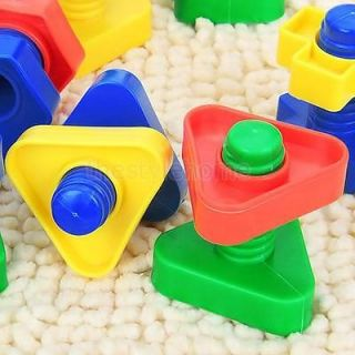 Pack of Screw Blocks Plastic Colorful Screw Building Blocks Kids Educational Toy