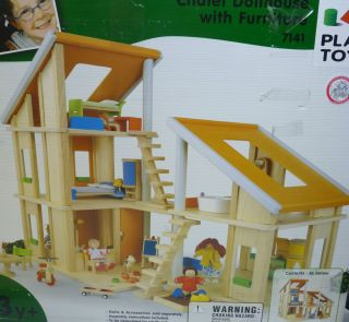 Plan Toy Chalet Doll House with Furniture for Kids 2 Units Rubber Wood 71410