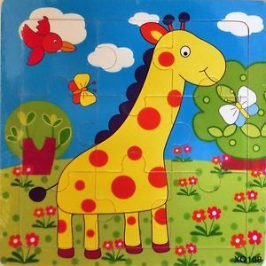 Giraffe Wooden 9 Pieces Colorful Jigsaw Puzzle Toy Toddler Kids Brand New