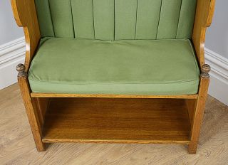Antique Arts Crafts Oak Hall Settle Monks Bench Kitchen Church Pew Chair Seat