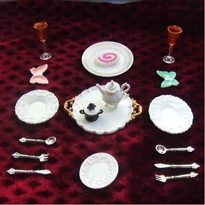 Doll House High Tea Party Tableware Scene Kid Baby Girl China Mini Toy Model Set