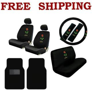 New 13pcs Love Red Rose Car Seat Covers Steering Wheel Cover Floor Mats