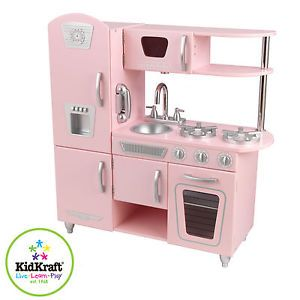 New KidKraft Huge Vintage Pink Retro Kids Pretend Play Kitchen Toy Playset 53179