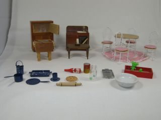 Doll House Kitchen Lot Fridge Butcher Block Pots Pans Table Chair Set Accessorie