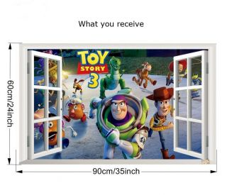 3D Window Toy Story Removable Wall Art Stickers Vinyl Decal Kids Nursery Decor