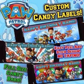 "Paw Patrol 2x5"" Full Size Hershey Candy Bar Label Supplies Favors Birthday Party"