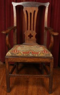 Antique Early American 18th C Chippendale Arm Chair Original Folk Art Woven Seat