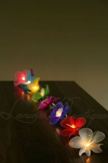 20 Colourful Mix Orchid Flower Battery Powered LED String Fairy Lights Party
