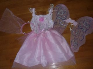 Girls Pretty Pink Fairy Costume Dress Up Size Med 6 8 Wings Tulle Headband