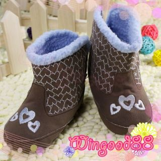 Suede Brown Heart Infant Baby Kids Unisex Toddler Shoes Winter Warm Boots Size 3