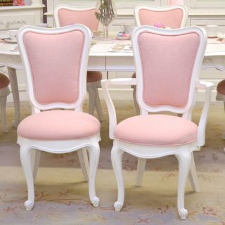 Shabby Cottage Chic Dining Chairs Set 6 Pink Linen French Vintage Style White