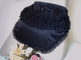 Sissy French Maid Lolita Black Nylon Satin Ruffle Lace Panties Frilly Knickers S