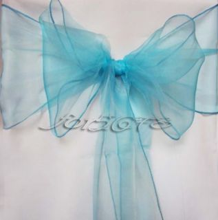 10pcs Turquoise Organza Chair Sashes Bow Cover Banquet Party Decorations Colors
