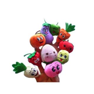 10 Velvet Fruit Vegetable 10 Sea Animals Finger Puppet Set Kids Story Telling