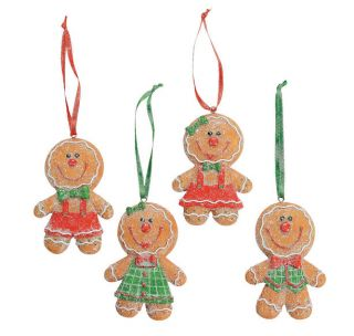 4 Big Head Gingerbread Cookie Christmas Tree Ornaments