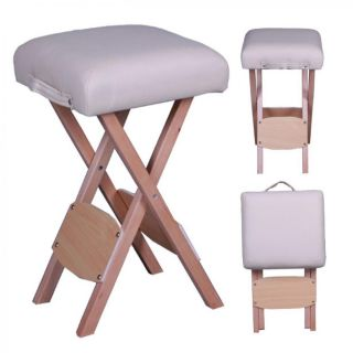 Folding Wooden Portable Massage Table Stool Salon Chair Tattoo Spa Home W18