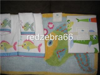 Pottery Barn Kids Girl Pink Funny Fish Bath Towels Mat Shower Curtain 6 PC Set