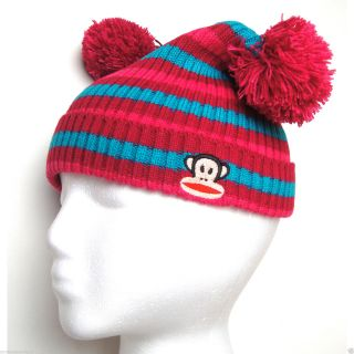 Paul Frank Julius Monkey Square Knitted Striped Pom Beanie Hat for Girls Kids