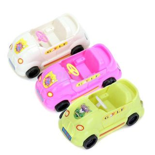 4 Seats Blue Convertible Car Cabriolet Toy for Barbie Doll Shiny Metallic Wheels
