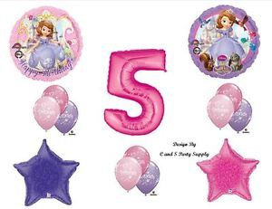 Sofia The First Fifth 5th Happy Birthday Party Balloons Decorations Supplies