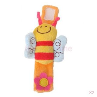 Infant Kids Baby Wrist Rattle Toy Bee Shape Hand Bell Soft Stuffed Plush Doll