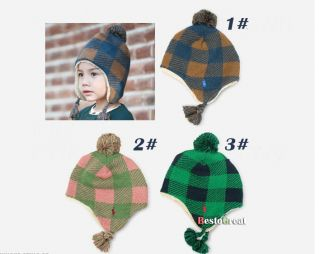 Fashion Baby Child Children Girls Boys Kids Crochet Grid Beanie Hat Cap