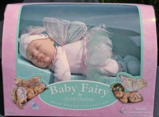 "Anne Geddes Soft Plush Toy Baby Doll Boxed 9"" 23cm Sleeping Fairy Baby New"